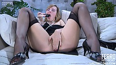 Aubrey spreads her legs and pleases herself with her fingers and a dildo