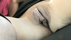 Tiffani Rox gets his rocks off riding his cock in the moving car