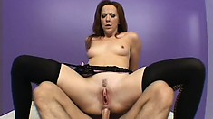 Hot babe Trinity Post spreads her cheeks for some deep anal ravaging