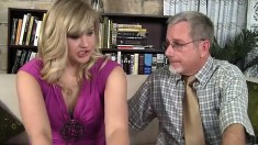 Gorgeous blonde schoolgirl getting drilled by her teacher on the couch