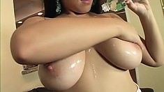 Charming brunette with huge natural boobs sucks and fucks a big cock with fervor
