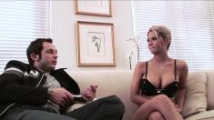Busty blonde slut chills in her black undies before getting dirty